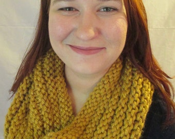 Chunky, Knitted Cowl - Wheat, Mustard Yellow (Under 30 USD)
