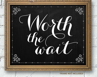 "Printable Chalkboard Worth the Wait Adoption New Baby Signs (2 sizes: 10""x8"" and 14""x11""), Instant Download JPG"