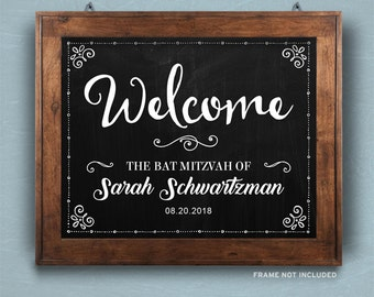 """Printable Rustic Chalkboard Bat Mitzvah Welcome Signs - Black, 2 sizes: 10""""x8"""" and 14""""x11"""", Editable PDF, Instant Download"""
