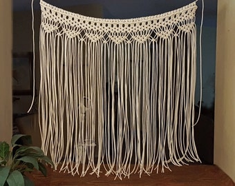 "Macrame Wall Hanging Sale! Large Bohemian Window Covering Wedding Arch Backdrop Headboard Curtain ""Devotion"""