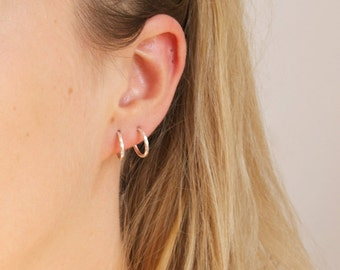 Tiny silver hoops - tiny hoops - hammered silver hoops - silver hoop earrings - thin silver hoops - cartilage hoops - small - A14531