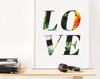 Love Print, Tropical Decor, Pattern Art Print, Plant Patterns, Best Sellers, Bedroom Decor, Tropical Print, Summer Wall Art, Fun Prints
