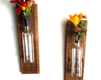 Indoor Plant Wall Sconces : Rustic Wine Bottle Sconces Pair rustic wall decor rustic