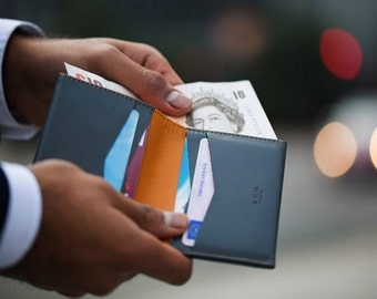 RFID Wallet - Wallets for Men - Grey / Yellow - A-SLIM - Machete - Bifold - Premium Leather - Leather Card Holder - Slim Wallet