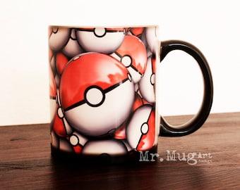Pokemon Mug, Color Changing Mug, Mug, Coffee Mug, Pokemon Pokeball Mug, Magic Mug, Pokemon Go Mug, Funny Mug, Pokemon Cup, Game Lover Gift
