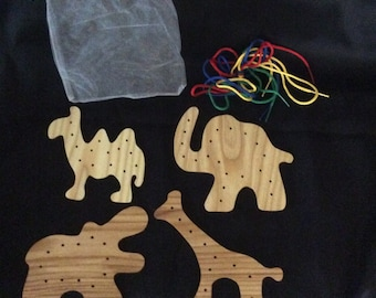 Lacing cards, Lacing shapes, elephant, hippo, camel, giraffe