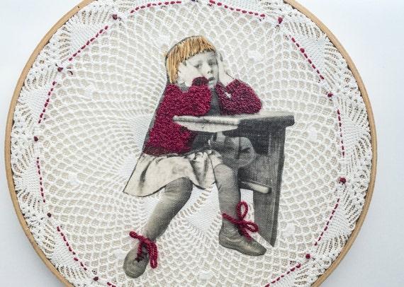 Modern embroidery hoop art retro school vintage