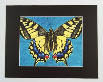 "Butterfly Art Print-""Becoming Me""-Becoming Series-Pen & Ink on Vellum- 11x14 Matted 8x 10 Giclee Print-"
