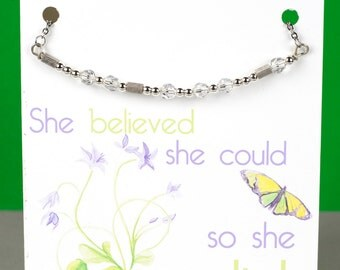 Believe Morse Code Necklace -Inspirational Necklace - Morse Code Necklace - Handmade Necklace with a Stainless Steel Chain