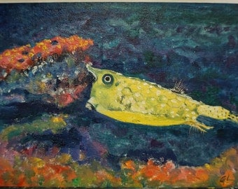 Original Oil Painting, Cowfish, Room Deco, Art gift
