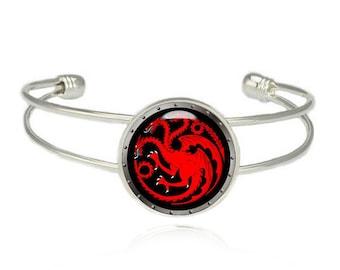 House Targaryen Cuff Bangle Bracelet Fandom Jewelry Game of Thrones Dragons