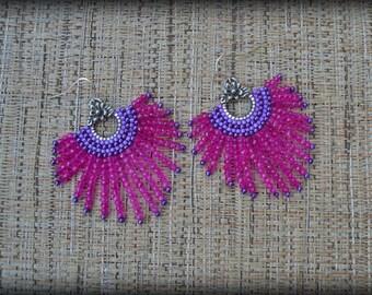 Beaded Hoop Earrings,Hot Pink and Purple Hoop Earrings,Pink Earrings,Statement Hoops,Nickel Free,Gift for her,Seed bead Earrings