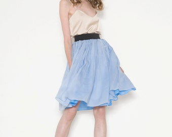 Silk layered skirt with elastic waist