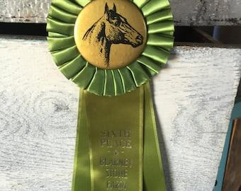 Vintage Horse Show Ribbon, Green Award Ribbon, Equestrian Ribbon