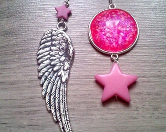 Hippie earrings - silver hooks 925 - fun - pastel goth - pastel grunge - rock - kitsch jewelry - goth