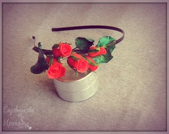 "Hair band ""Red Roses"""