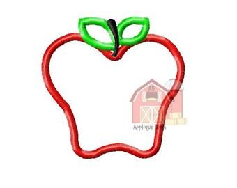 Apple applique design, Apple embroidery design