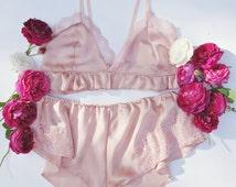 Vintage Inspired Silk Creme Pink Lingerie set, Silk Bra, Silk French Knickers, Silk Lingerie