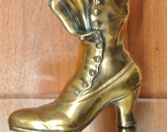 Gold Granny Boot Planter Vintage Ceramic Vase