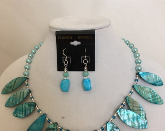 Bright Blue and Silver Beaded Necklace and Matching Earrings Set,