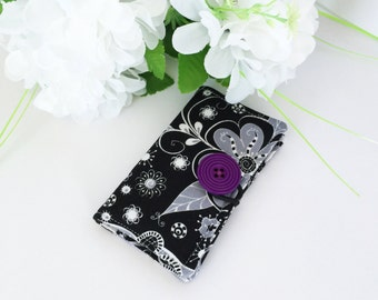 Fabric Card Holder - For Business Cards, Credit Cards, Opal Card - Black Flowers