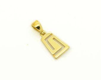 Minimal Gold Pendants, Delicate Gold Pendants, Made In Greece Pendant, Greek key Pendants, Greek key Jewelry, Yellow Solid Gold Pendants