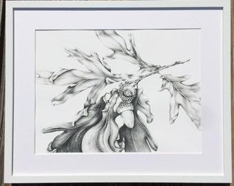 Oak leaf branch with acorns graphite illustration - art print