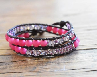 Double Leather Wrap Bracelet with Pink and Purple Beads