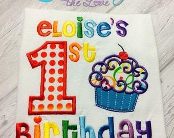 First Birthday Rainbow Cupcake Birthday Shirt - First Birthday Shirt