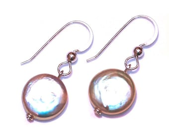 Coin Pearl Argentium Silver Earrings