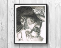 Lemmy Kilmister, founder of the heavy metal band Motorhead, posters charcoal
