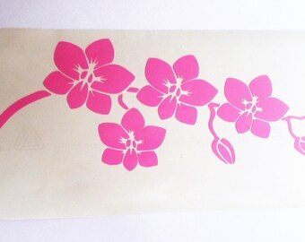 Orchid decal Vinyl Wall Stickers Removable wallpaper Laptop sticker Laptop decal Bedroom decal Macbook decal Flower decal Orchid flower