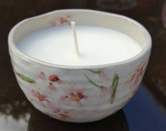 Candle - Vintage Japanese Style Candle with Cherry Blossom Design and Gingerbread Scented Soy Wax