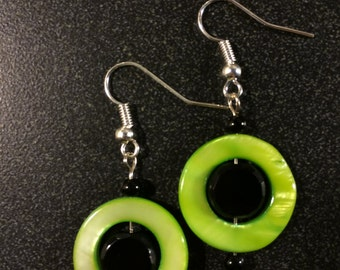Pale Green and Black Earrings