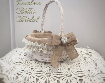 Antique White Flower Girl Basket with Burlap Lining