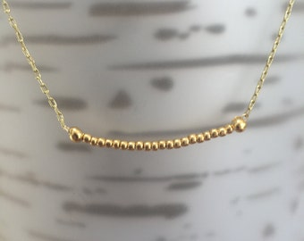 Gold Bead Minimalist Gold/Sterling Silver Necklace