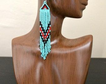 Extra Long Light Blue Beaded Earrings