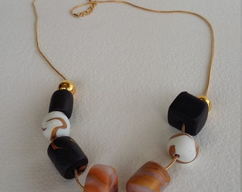 Black and Gold Marbled Bead Necklace