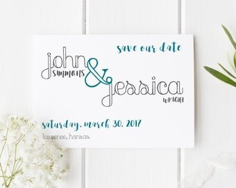 Save the Date Cards/Rustic Wedding Postcards/Save our Date/Teal/Grey/Printable/Custom/Unique/Modern Invites/LL Design Shop/5x7/4x6