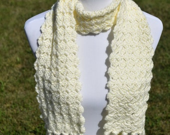 Cream Crochet Scarf