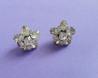 Vintage Rhinestone Cluster Earrings