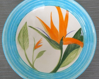 Turquoise Bird of Paradise Bowl