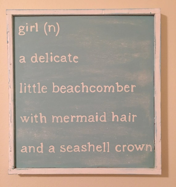 Little girl beach themed sign 16x18 little girl by for Signs for little girl rooms