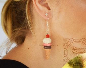 Ice Cream Scoop Polymer Clay Earrings