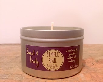 Natural Soy Wax Candle: Sweet & Fruity