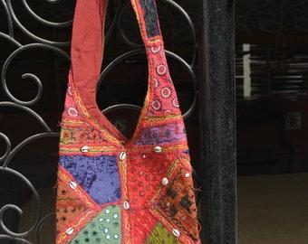 reverse appliqué patchwork tote bag