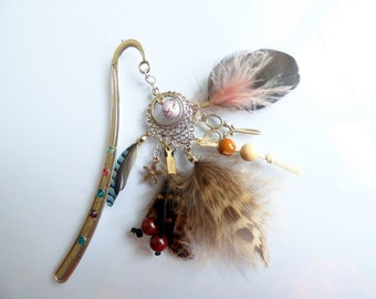 Bookmark pink feathers - pic à cheveux - player gift - school - book