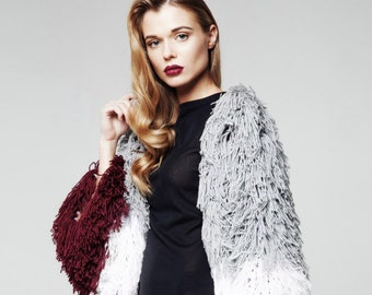 Cardigan knitted coat from KESLOVE wine-colour white grey