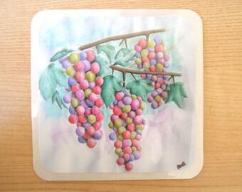 Rainbow grapes watercolour coasters or wall decor (set of 4)