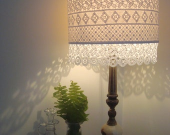 White Lace over Beige Fabric Boho Inspired Lampshade